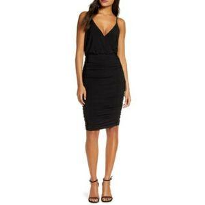 Eliza J Ruched Cocktail Sheath V-Neck Black Dress